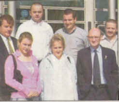 Members of the Ludlow family, including Mrs Nan Sharkey, a sister of Seamus, standing outside Dundalk Courthouse.