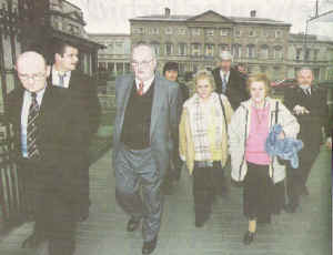 Members of the Ludlow family - including Seamus Ludlow's brother Kevin and two of his sisters Nan and Eileen - leaving the Oireachtas open hearing on 24 January 2006. Photograph from The Irish News 25 January (Source: AP)